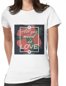 graphic print with flowers Womens Fitted T-Shirt