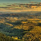 Last Rays Of Day - (20 Exposure HDR PANO) Blue Mountains World Heritage Area , Sydney- The HDR Experience by Philip Johnson