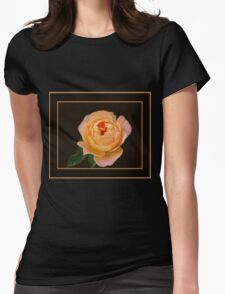 Peach Rose Macro Womens Fitted T-Shirt
