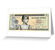 Taylor Swift 22 Dollar Bill Greeting Card