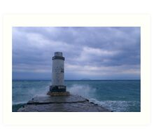 Lighthouse by The Aegean Sea Art Print