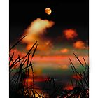 Pointing at the Moon - a moonlit lake fantasy landscape by Mal Bray