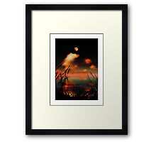 Pointing at the Moon - a moonlit lake fantasy landscape Framed Print