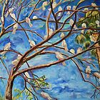 The flock - white birds and blu skies - spring in spain by alyona firth