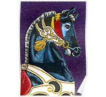 Proud Pony - Black Carousel Horse Painting - Merry Go Round Poster
