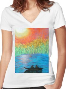 Lovers on the Lake Women's Fitted V-Neck T-Shirt