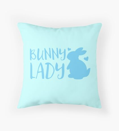 Bunny Lady cute in Blue Throw Pillow