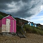 Pink Beach Hut by Loz Still