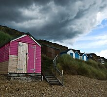 Pink Beach Hut by Lozzle