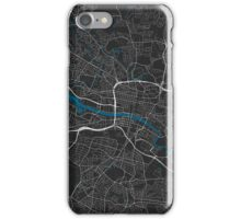 Glasgow city map black colour iPhone Case/Skin