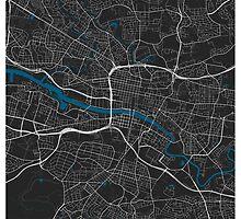 Glasgow city map black colour by mmapprints