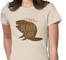 Crazy Beaver Lady Womens Fitted T-Shirt