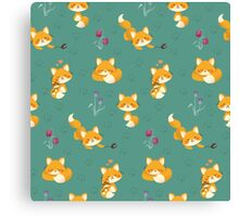 Kawaii Fox pattern Canvas Print