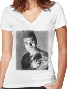 Boris Karloff by John Springfield Women's Fitted V-Neck T-Shirt