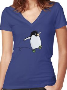 Penguin Skating Women's Fitted V-Neck T-Shirt