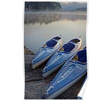 Kayak boats at lake Poster