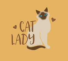 CAT LADY simple with Burmese or Siamese cat by jazzydevil
