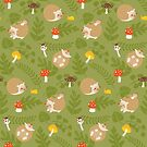 Kawaii Hedgehog green pattern by Macy Wong