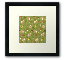 Kawaii Hedgehog green pattern Framed Print