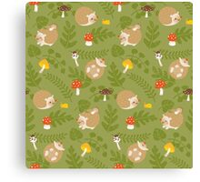 Kawaii Hedgehog green pattern Canvas Print