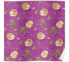 Kawaii Hedgehog purple pattern Poster