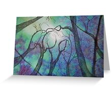 Blue trees - landscape - natural world - blue fantasy Greeting Card