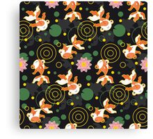 Kawaii Goldfish black pattern Canvas Print