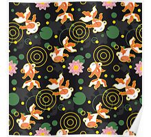 Kawaii Goldfish black pattern Poster