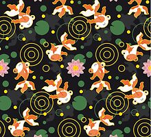 Kawaii Goldfish black pattern by Macy Wong