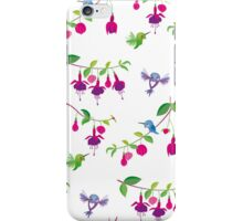 Kawaii Hummingbird fuchsia white pattern iPhone Case/Skin