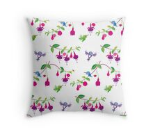 Kawaii Hummingbird fuchsia white pattern Throw Pillow