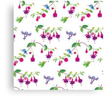 Kawaii Hummingbird fuchsia white pattern Canvas Print
