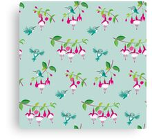 Kawaii Hummingbird fuchsia green pattern Canvas Print
