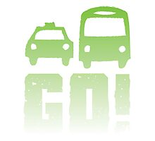 GREEN car taxi bus GO! Photographic Print