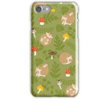 Kawaii Hedgehog green pattern iPhone Case/Skin