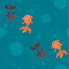 Kawaii Goldfish teal pattern by Macy Wong