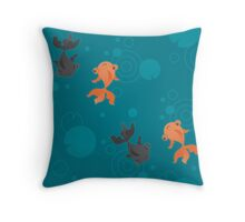 Kawaii Goldfish teal pattern Throw Pillow