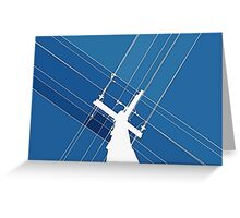 Blue Wires Overhead  Greeting Card