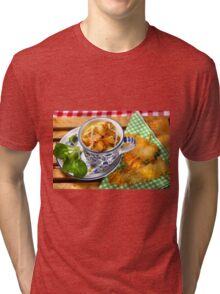 Bavarian Macaroni With Cheese and Crispy Cheese Cookie Tri-blend T-Shirt
