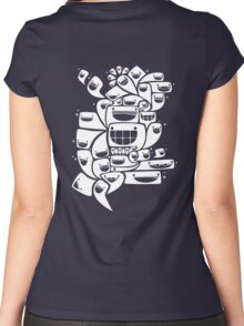 Happy Squiggles - 1-Bit Oddity - White Version Women's Fitted Scoop T-Shirt
