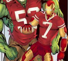 Hulk, Iron Man in 49er jerseys Sticker
