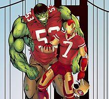 Hulk, Iron Man in 49er jerseys by antscustomart