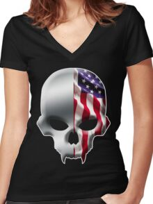 Stars and Stripes and Skulls Women's Fitted V-Neck T-Shirt