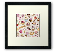 Seamless pattern with sweets Framed Print