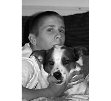 A Boy and His Cattle Dog Photographic Print