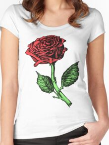Single Red Rose Women's Fitted Scoop T-Shirt