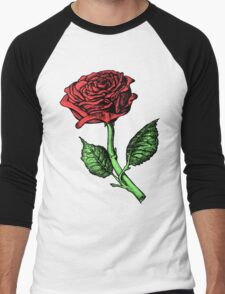 Single Red Rose Men's Baseball ¾ T-Shirt