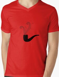 Retro pipe on grunge paper. Mens V-Neck T-Shirt