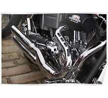 Chromed Pipes On A Harley........ Poster