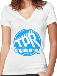 TPR Retro blue Women's Fitted V-Neck T-Shirt